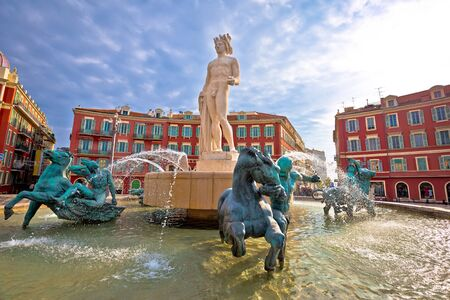 City of Nice Place Massena square and Fountain du Soleil view, tourist destination of French riviera, Alpes Maritimes department of France