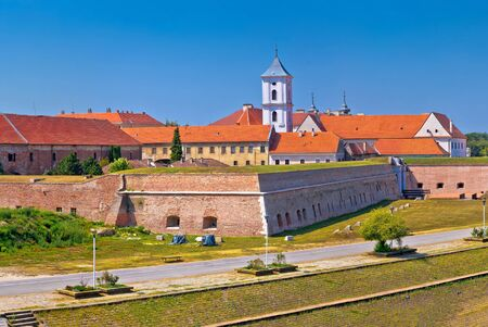 Tvrdja old town walls and Drava river walkway in Osijek panoramic view, Slavonija region of Croatia