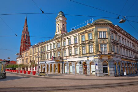 Osijek main square and cathedral street view, Slavonija region of Croatia