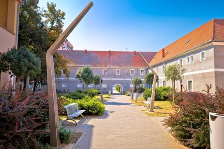 City of Osijek park walkway and architecture view, Slavonija region of Croatia Stock Photo