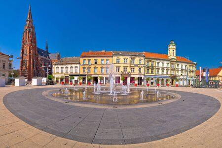 Osijek main square and cathedral panoramic view, Slavonija region of Croatia