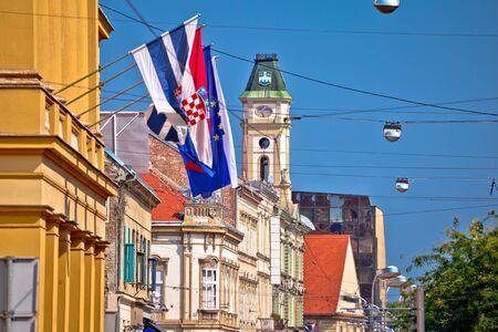 Osijek colorful street and landmarks view, Slavonija region of Croatia