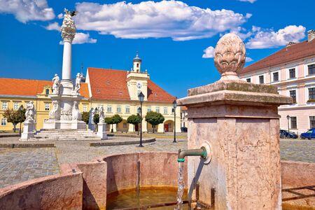 Old paved street and fountain in Tvrdja historic town of Osijek, Slavonija region of Croatia