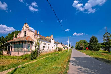 Street view of Karanac historic architecture, ethno village in Baranja region of Croatia