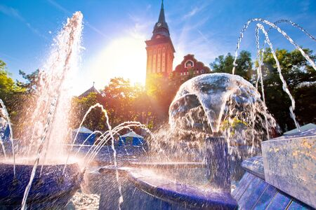 Subotica city hall and fountain square sunset view, Vojvodina region of Serbia