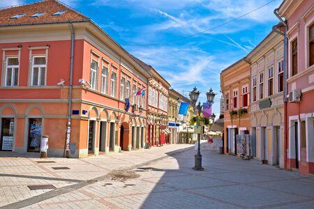 Restaurant central street of Novi Sad summer view, Vojvodina region of Serbia 写真素材