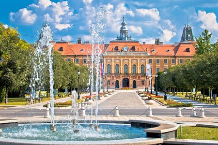 Sombor fountain square and city hall view, Vojvodina region of Croatia