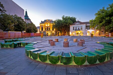 Town of Subotica square evening view, Vojvodina region of Serbia
