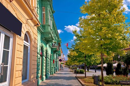 Town of Sombor street and architecture colorful view, Vojvodina region of Serbia