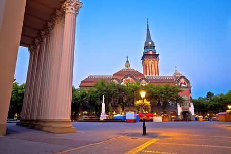 Subotica city hall and main square evening view, Vojvodina region of Serbia Reklamní fotografie