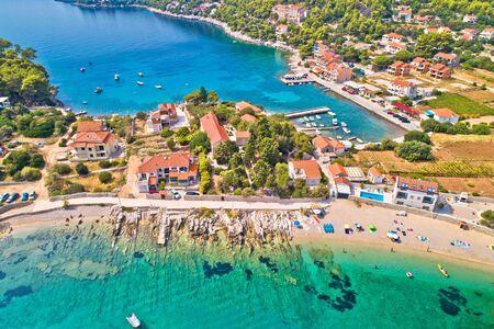 Aerial view of Prizba beach on island Korcula, archipelago of southern Dalmatia, Croatia