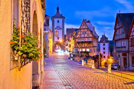 Cobbled street of historic town of Rothenburg ob der Tauber dawn view, Romantic road of Bavaria region of Germany