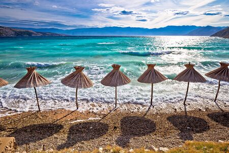 Idyllic turquoise beach in Baska view, Island of Krk, Croatia. Baska is famous tourist destination in Croatia.