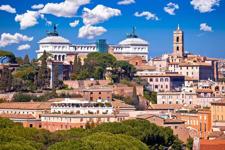 Rome. Eternal city of Rome landmarks an rooftops skyline view, capital of Italy