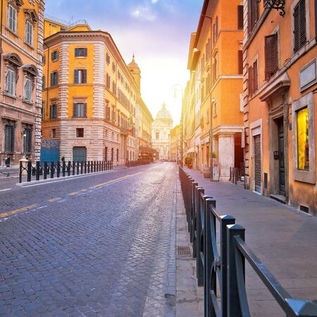 Colorful empty street of Rome dawn view, eternal city and capital of Italy Stok Fotoğraf