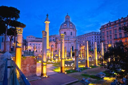 Rome. Ancient Trajans Forum square of Rome dawn view, capital city of Italy