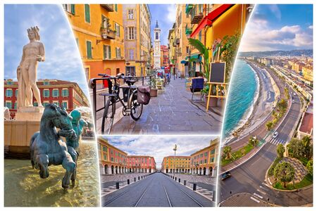 Nice. City of Nice tourist postcard of famous landmarks, French riviera or Cote d Azur, Alpes Maritimes department of France