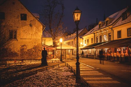 Old Tkalca street in Zagreb evening advent view, capital of Croatia