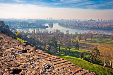 Kalemegdan old town and Sava and Danube river mouth in Belgrade view, capital of Serbia