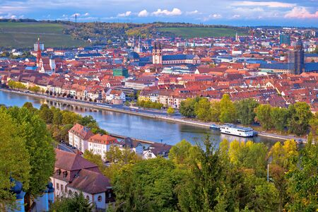 Old town of Wurzburg and Main river view from above, Bavaria region of Germany