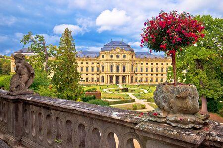 Wurzburg Residenz and colorful gardens view, famous landmark in Bavaria region of Germany Standard-Bild - 137214408
