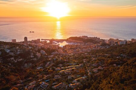 Principality of Monaco aerial panoramic sunrise view, skyscrapers of Cote D Azur
