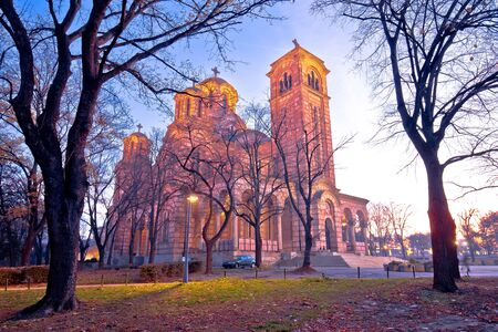 Church of Saint Mark amd park in Belgrade dawn view, landmark in capital of Serbia