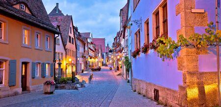 Rothenburg ob der Tauber. German street architecture of medieval German town of Rothenburg ob der Tauber evening panoramic view. Bavaria region of Germany