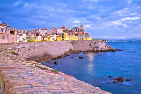 French riviera. Historic town of Antibes seafront and landmarks dawn view, famous destination in Cote d Azur, France