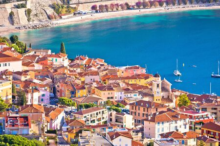 French riviera. Villefranche sur Mer architecture and coastline aerial view, Alpes-Maritimes region of France Imagens