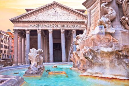 Rome. View of Pantheon and square fountain, ancient landmark in eternal city of Rome, capital of Italy