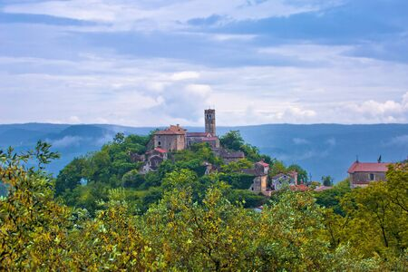 Village of Zavrsje in green landscape of Istria view, scenic destination of Croatia