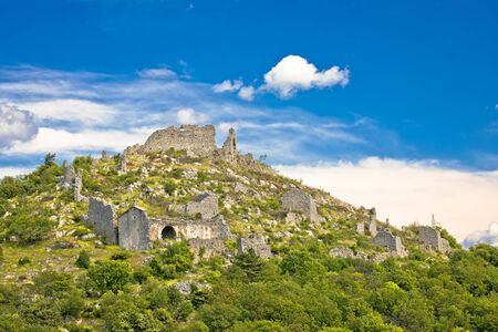 Ledenice historic town on the hill ruins view, Vinodol valley, Kvarner bay, Croatia Standard-Bild