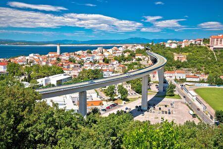 Town of Crikvenica architecture and coastline view, Kvarner region of Croatia
