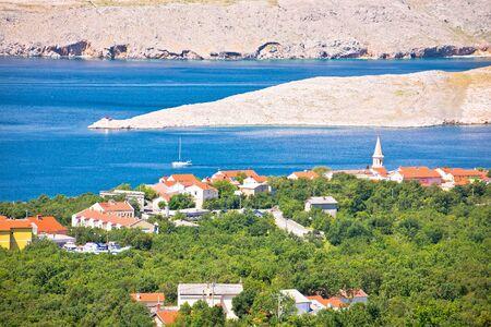 Jadranovo. Adriatic sea village on Crikvenica riviera and stone desert of Krk island view. Kvarner bay of Croatia. Standard-Bild