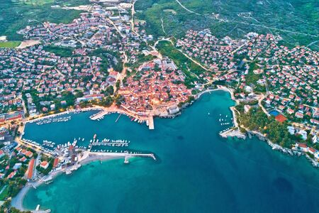 Idyllic Adriatic island town of Krk aerial evening view, Kvarner bay of Croatia
