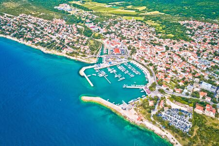 Town of Novi Vinodolski aerial panoramic view, Adriatic sea, Kvarner region of Croatia
