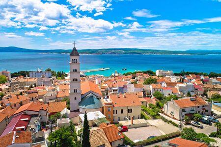 Crikvenica. Town on Adriatic sea waterfront aerial view. Kvarner bay region of Croatia Standard-Bild