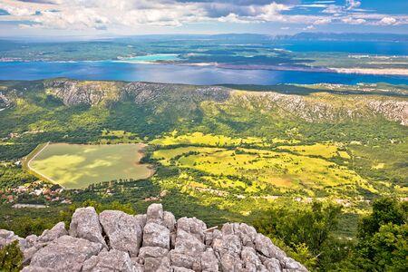 Vinodol valley and lake Tribalj view from Mahavica viewpoint, Kvarner bay region of Croatia