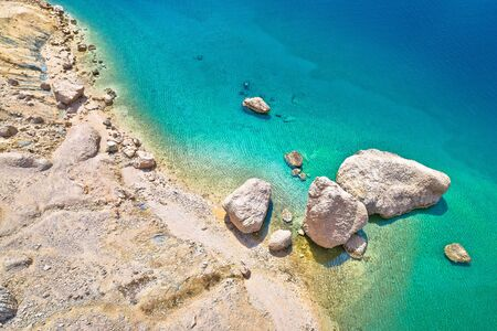 Metajna, island of Pag. Famous Beritnica beach in stone desert amazing scenery aerial view, Dalmatia region of Croatia