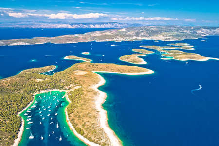 Pakleni otoci yachting destination arcipelago aerial view of Palmizana, Hvar island, Dalmatia region of Croatia