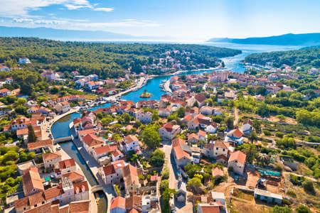 Hvar. Old town of Vrboska aerial view, island of Hvar, Croatia