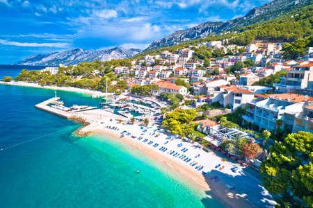 Aerial view of Brela beach and waterfront on Makarska riviera, Dalmatia region of Croatia