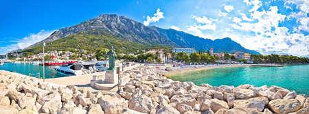Town of Baska Voda beach and waterfront panoramic view, Makarska riviera in Dalmatia, Croatia Stock Photo