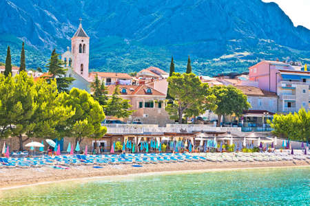 Town of Baska Voda beach and waterfront view, Makarska riviera in Dalmatia, Croatia Sajtókép