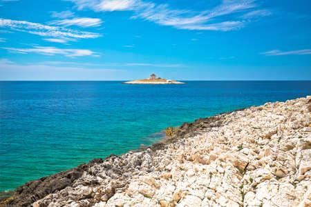 Pokonji Dol Lighthouse in Hvar island archipelago view, Dalmatia region of Croatia