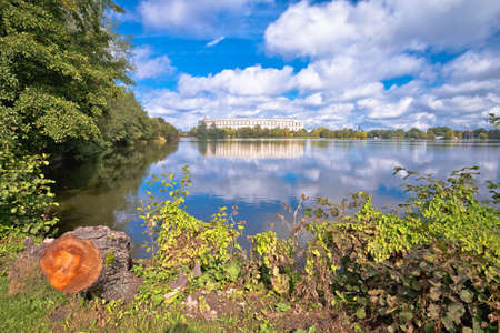 Lake view of Reich Kongresshalle (congress hall) on former Nazi party rally grounds in Nuremberg, Bavaria region of Germany