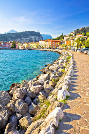 Town of Torbole on Lago di Garda waterfront view, Trentino Alto Adige region of Italy