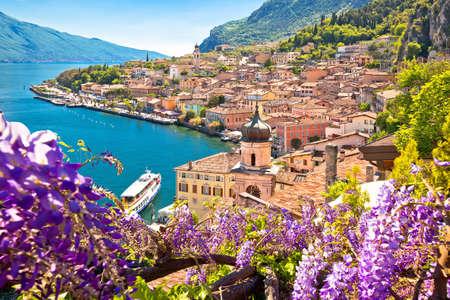 Town of Limone sul Garda on Garda lake view, Lombardy region of Italy