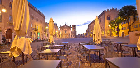 Mantova city Piazza Sordello cafe and architecture dawn view, European capital of culture and UNESCO world heritage site, Lombardy region of Italy